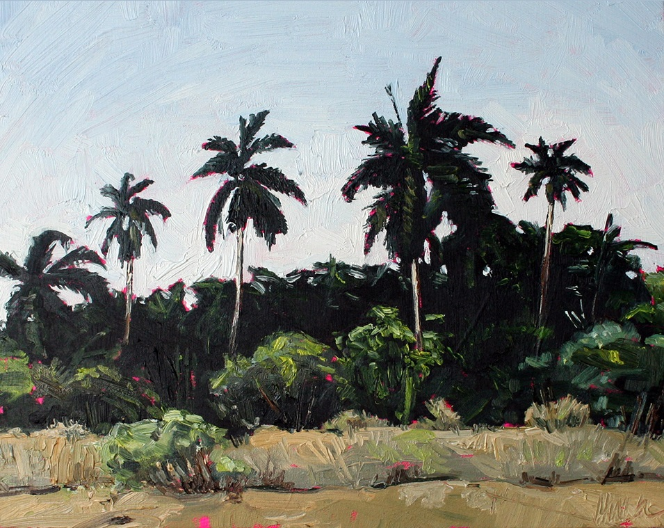"Julie Himel, ""Palm Forest"", oil on panel, 8"" x 10"""