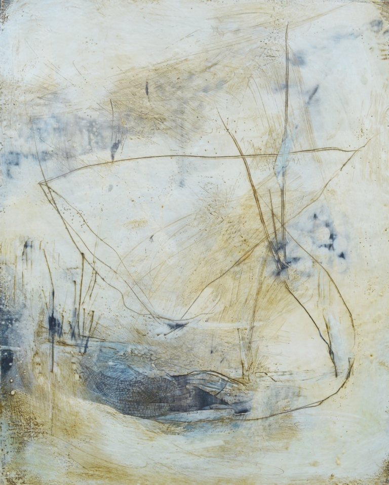 "Nava Waxman, ""The Secret Pond"", encaustic on canvas, 30"" x 24"""