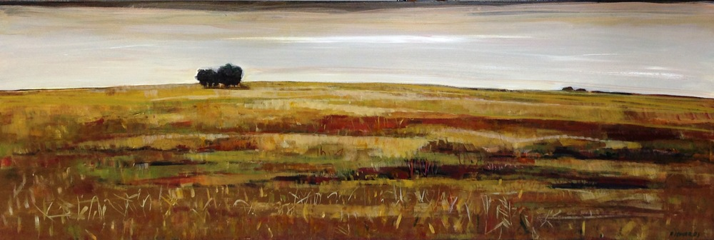 "Lori Richards, Warm Fields (After the Harvest), Acrylic on Panel, 16"" x 48"""
