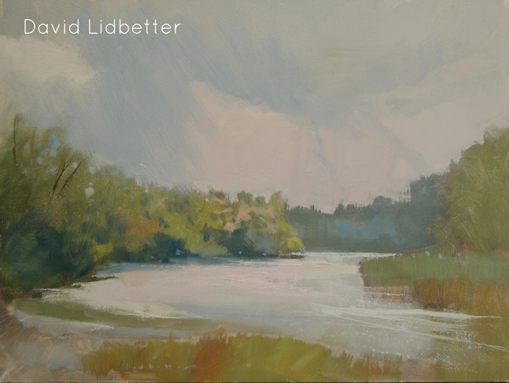 "David Lidbetter, Grey Day on the Grand (plein air), Oil on Panel, 9"" x 12"""