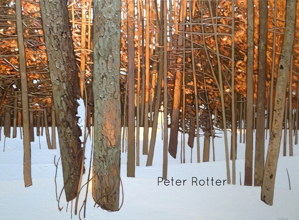 "Peter Rotter, Winter Warmth, Oil on Canvas, 36"" x 60"""