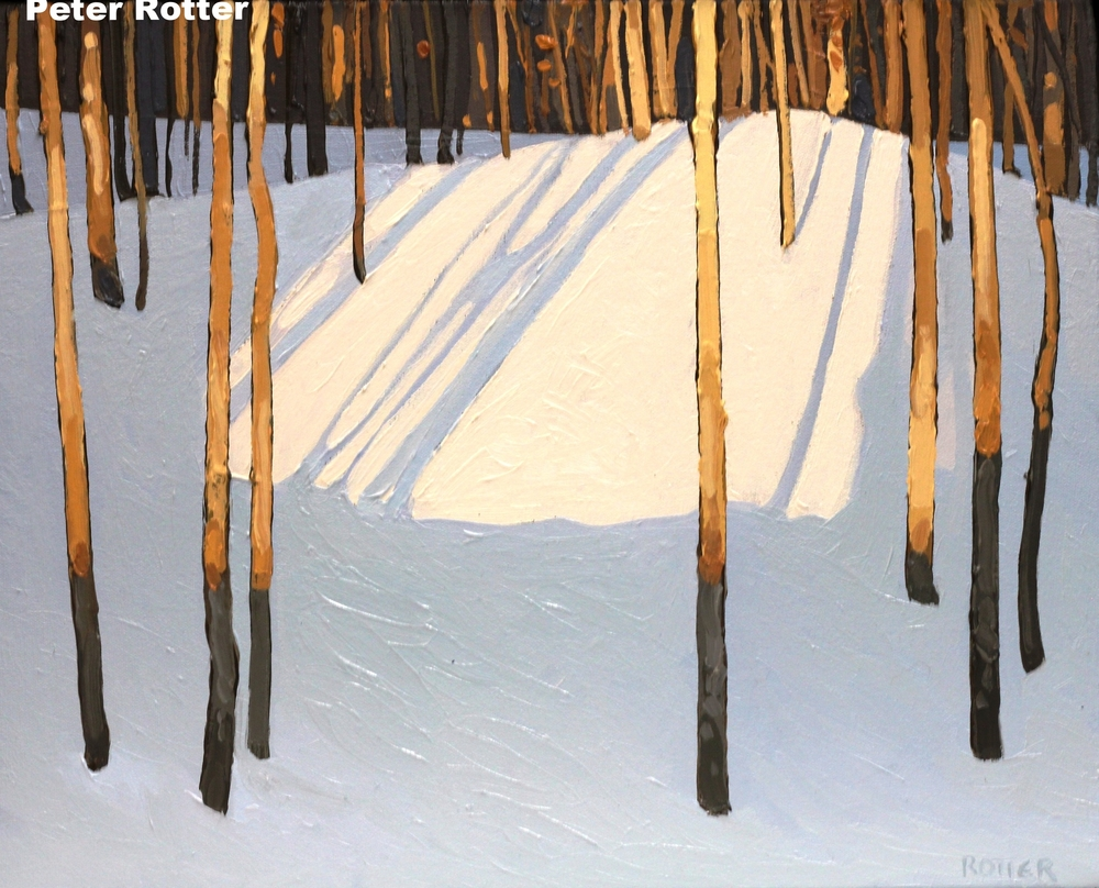 "Petter Rotter, Winter Shadows, Oil on Canvas, 16"" x 20"""