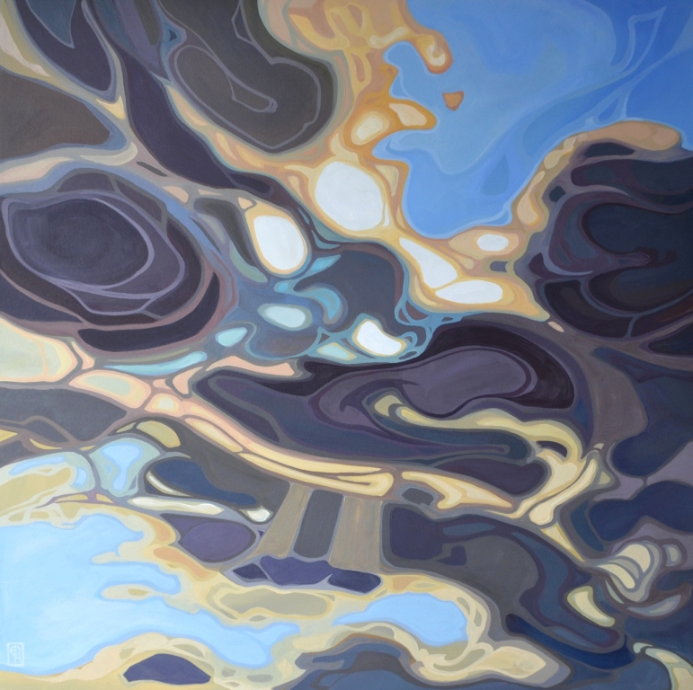 "Erica Hawkes, ""Mercury Clouds"", Acrylic on Canvas, 36"" x 36"""