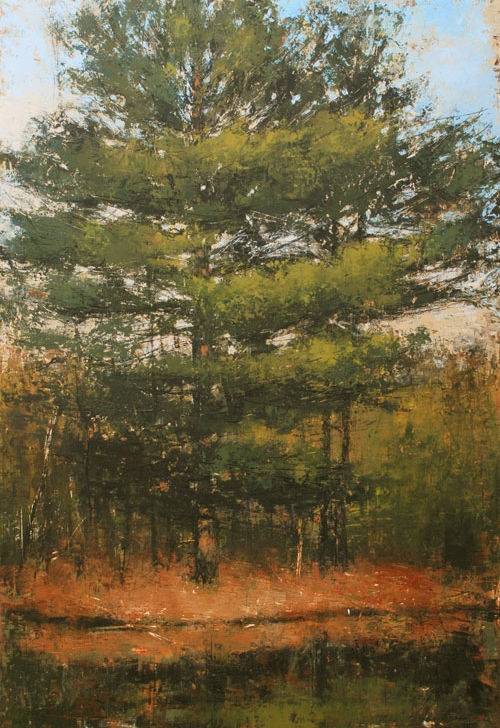 "Laura Culic, ""Eels Creek 1"", Encaustic on Panel, 36"" x 24"""