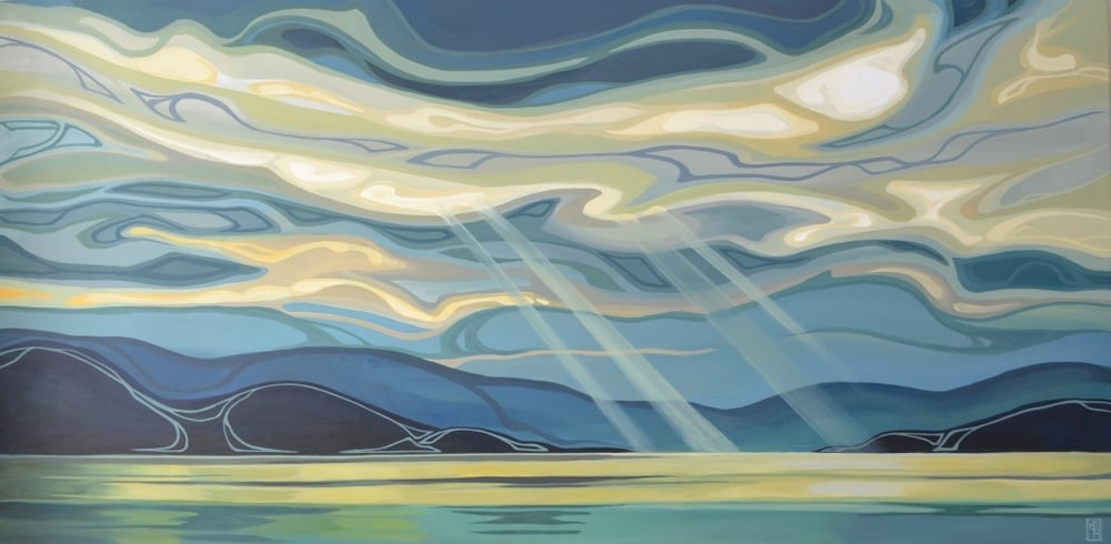 "Erica Hawkes, Larimar Sky II, Acrylic on Canvas, 30""x60"""