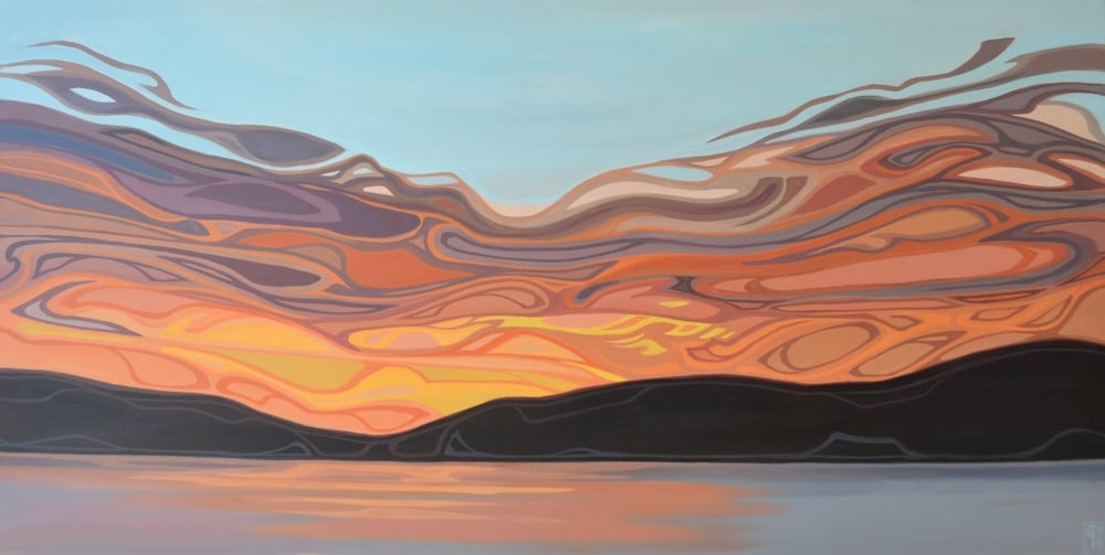 "Erica Hawkes, Layered Warmth, Acrylic on Canvas, 24"" x 48"""