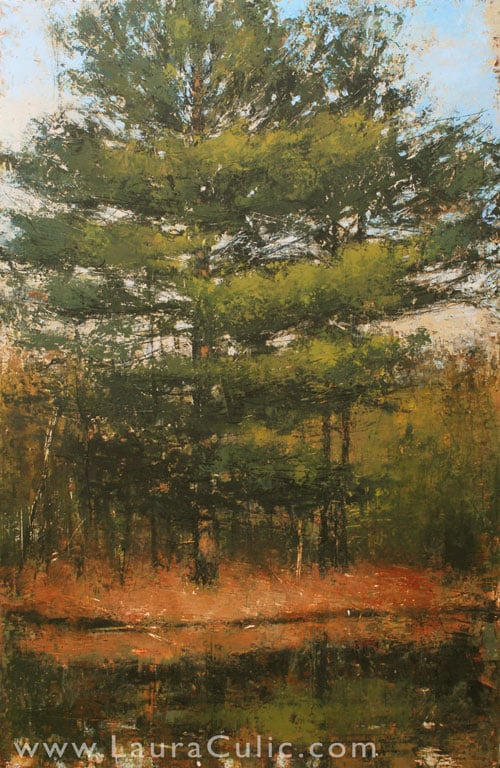 "Laura Culic, Eel's Creek I, cold wax on panel, 36"" x 24"""