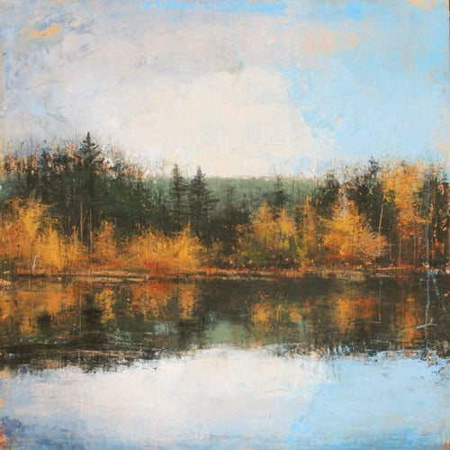 "Laura Culic, Madawaska, cold wax on panel, 30"" x 30"""