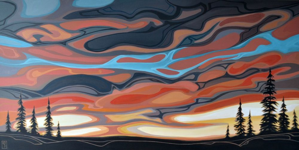 "Erica Hawkes, ""Red & Ochre Sunset"", Acrylic, 24"" x 48"""