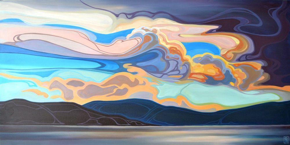 "Erica Hawkes, ""Unfurled Sky"", Acrylic, 24"" x 48"""