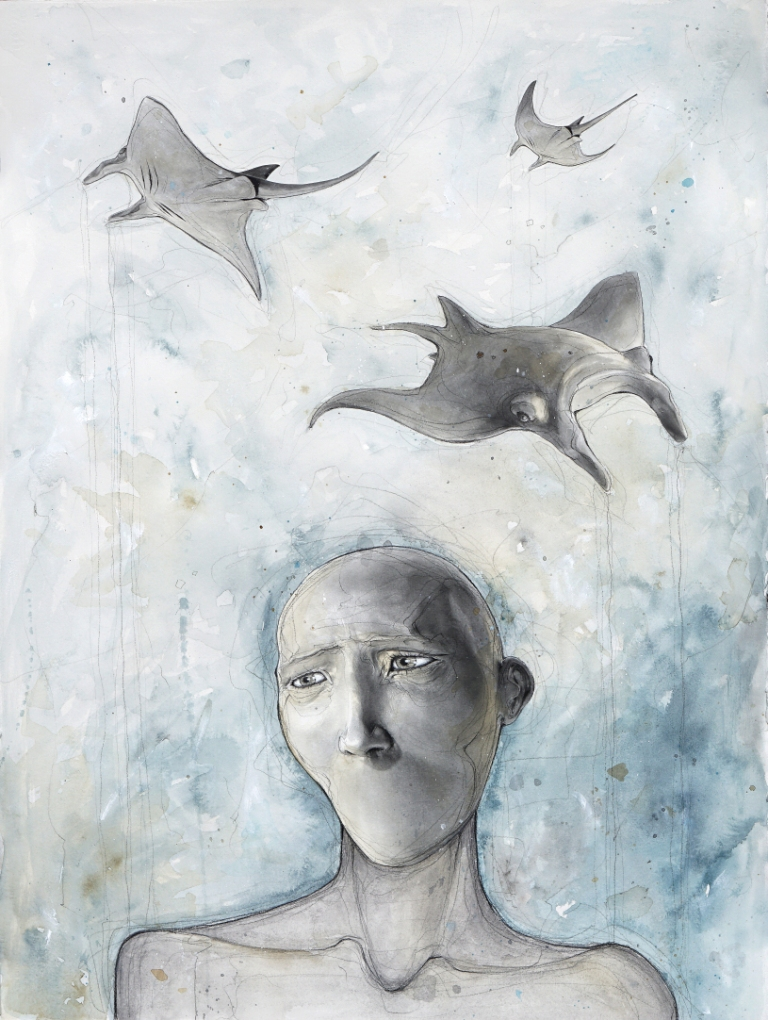 "Mat Dubé, ""Flight Reflection"", Mixed Media on Paper, 30"" x 22"""