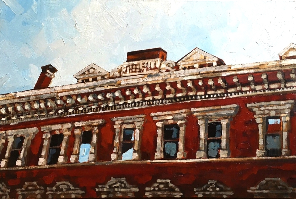 "Stewart Jones, ""Treble Hall,"" Oil, 24"" x 36"""