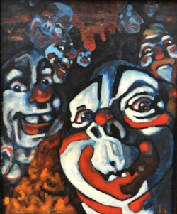 The clown painting that set Kelly in the direction of her current method of working.