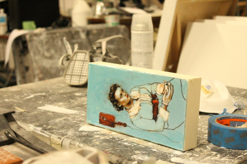 "Work in progress shot at Kelly Grace's studio in Toronto's East end. Kelly Grace, Pin Up 1, 5""x10"""