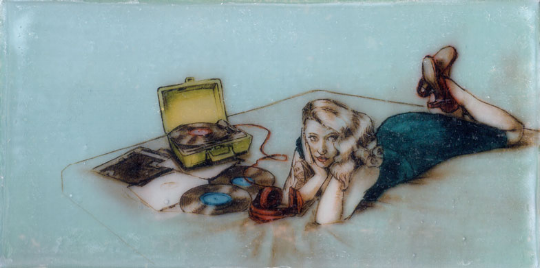 "Kelly Grace,  Records in Bed , mixed media, on panel, 5""x10"""