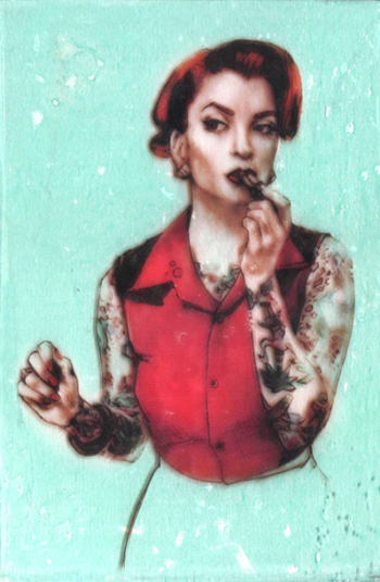 "Kelly Grace,  Date Night 81 , mixed media on panel, 4""x6"""