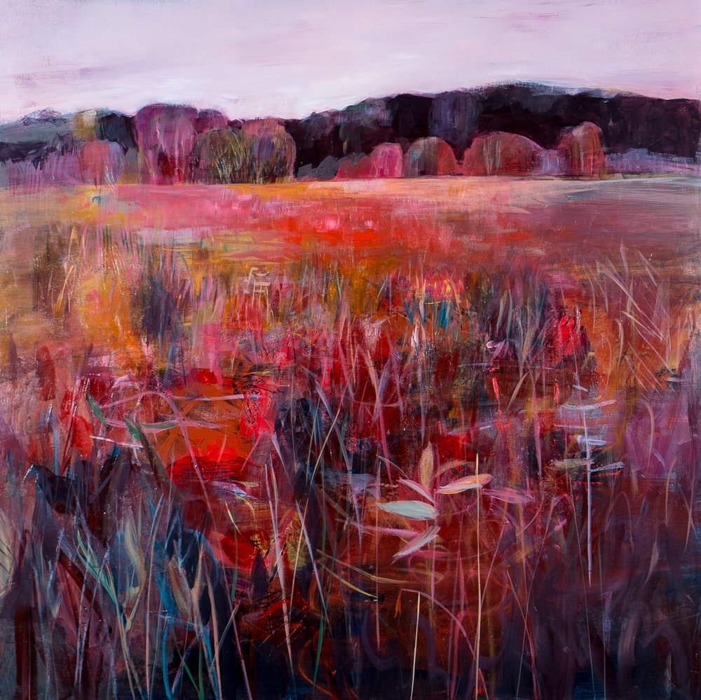 "Lori Richards,  Pink Sky at Night , 40"" x 40"", acrylic on panel"