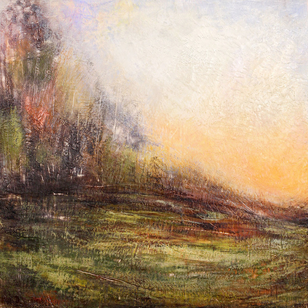 "Gloaming , encaustic on panel, 40"" x 40"""