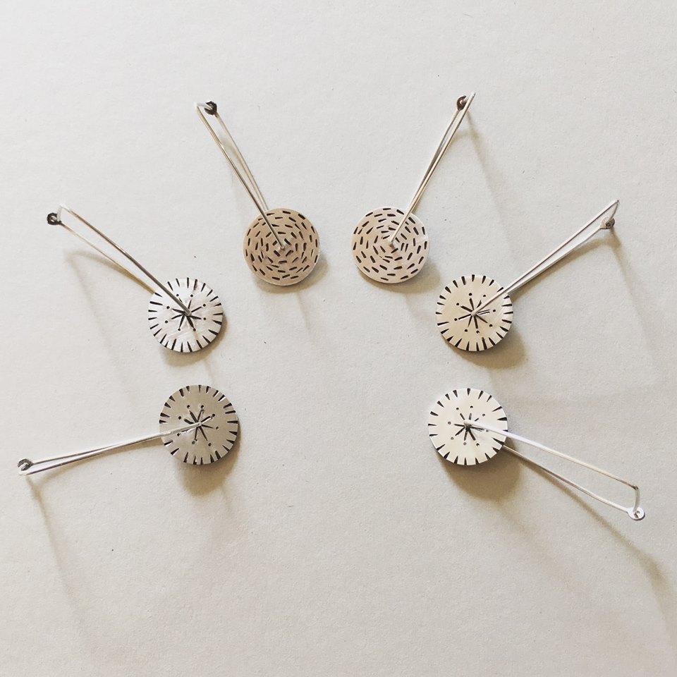 Andrea Mueller brushed silver disk earrings