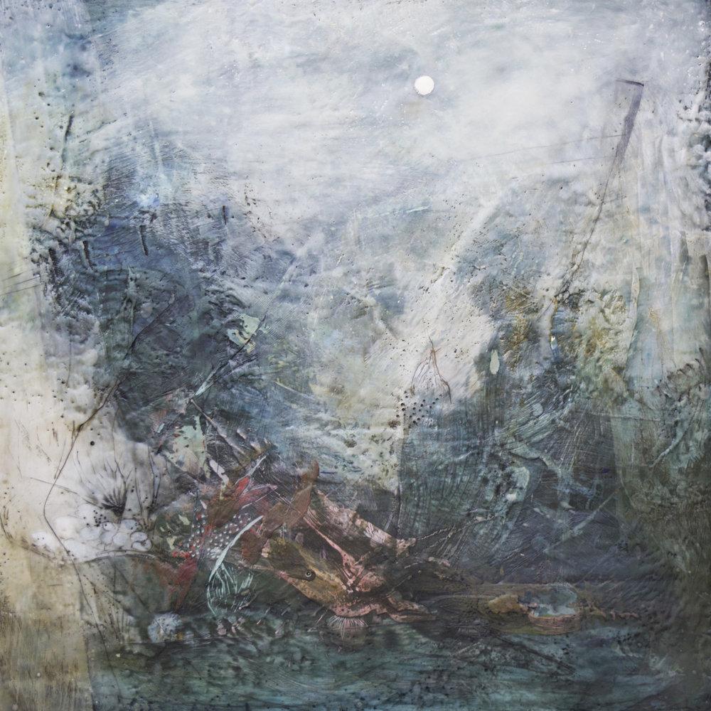 "Nava Waxman,  New Moon , encaustic on panel, 30"" x 30"""