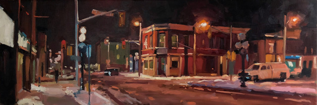 "Brian Harvey,  Dalhouse and St. Patrick , 36"" x 12"", oil"