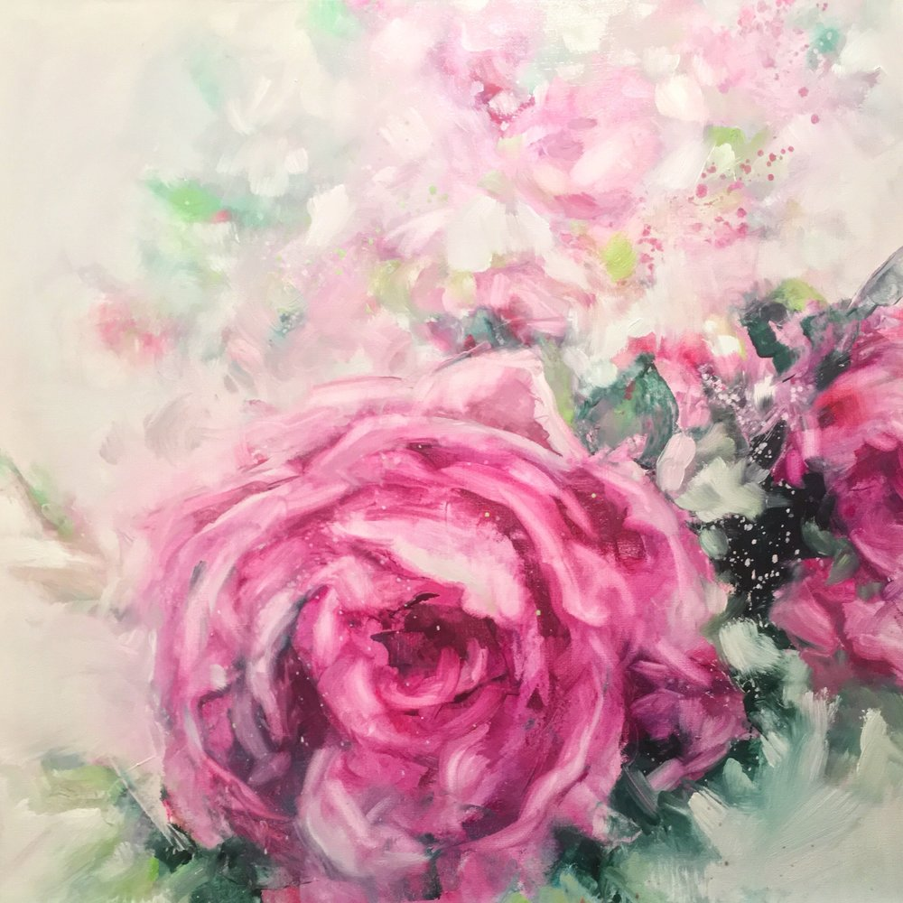 "Crystal Beshara,  Rambling Rose,  oil on canvas, 24"" x 24"""