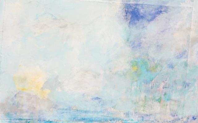"""Through the Mist , acrylic, mixed media on canvas, 60"""" x 36"""""""
