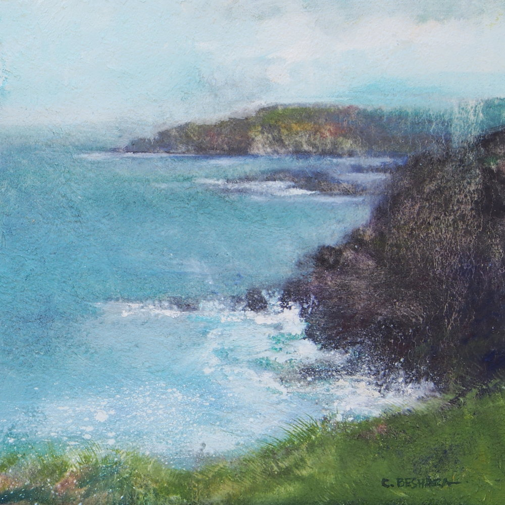"Cliffs of Kerry  Oil and fibre paste on panel 12"" x 12"" $800"