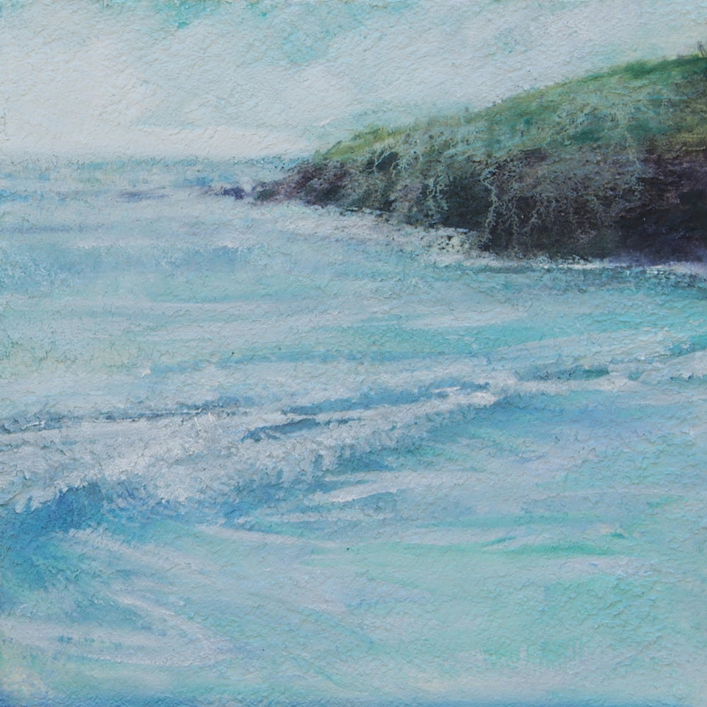 "Clogher Beach  Oil and fibre paste on panel 12"" x 12"" $800"