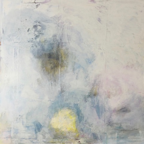 "Softest of Ocean Breezes  crylic and mixed media on panel 48"" x 48"" $2800"