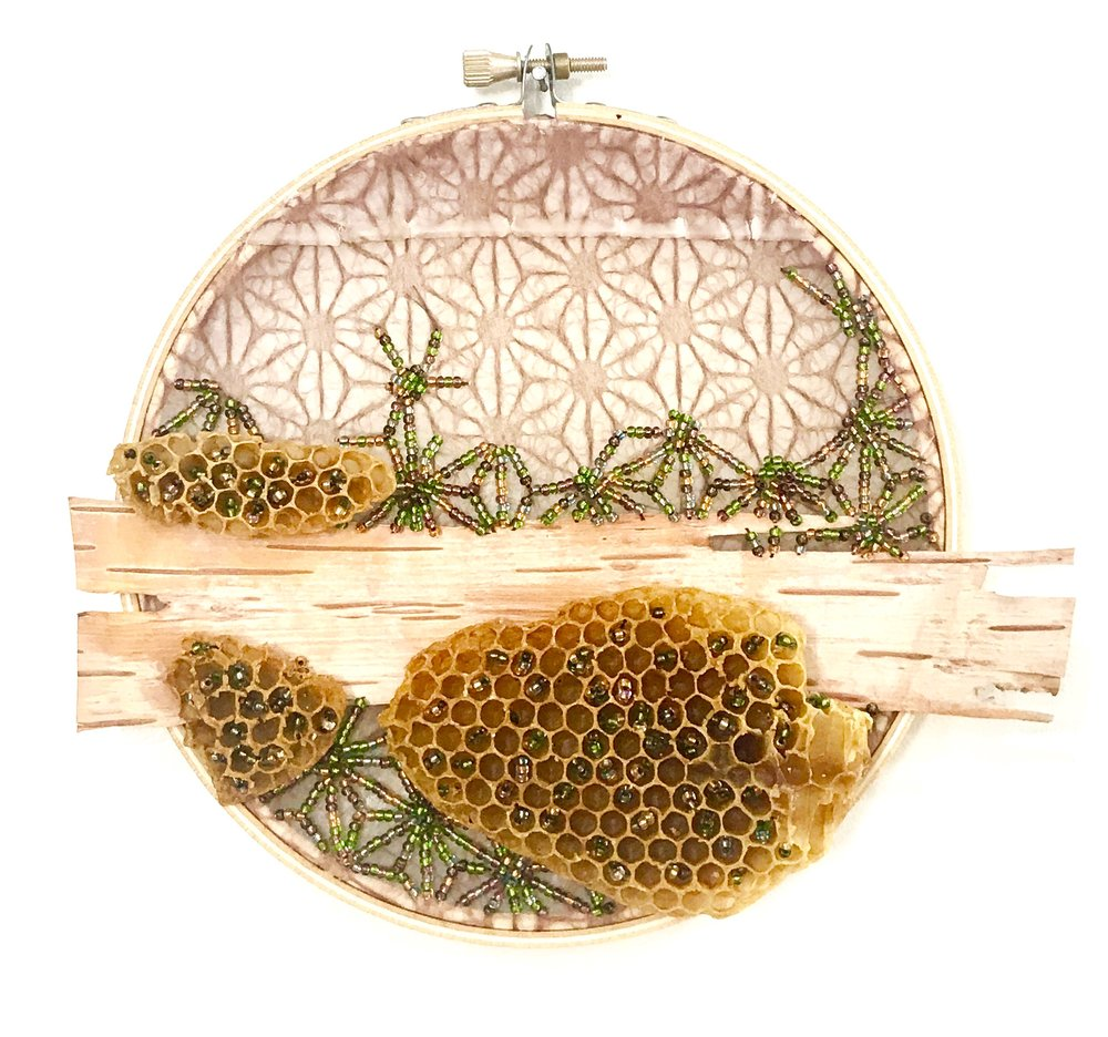 "Honeycomb, Moss , encaustic, beading, embroidery, birch bark, and honeycomb on Japanese tissue, 6"" diameter"