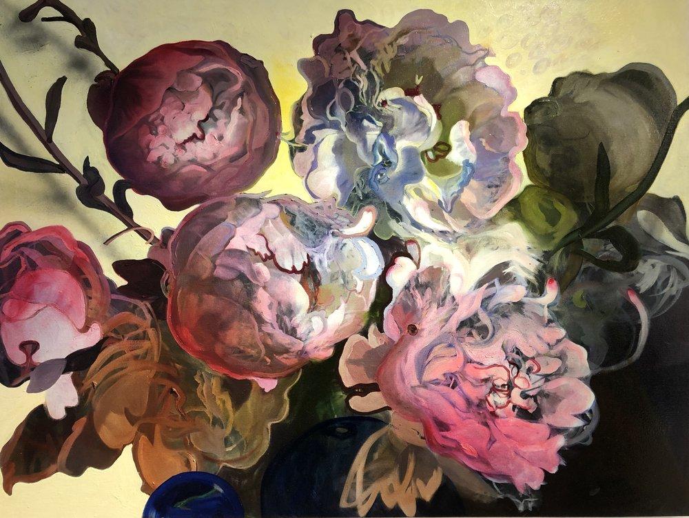 "Peonies (Organ) , oil on canvas, 48"" x 36"""
