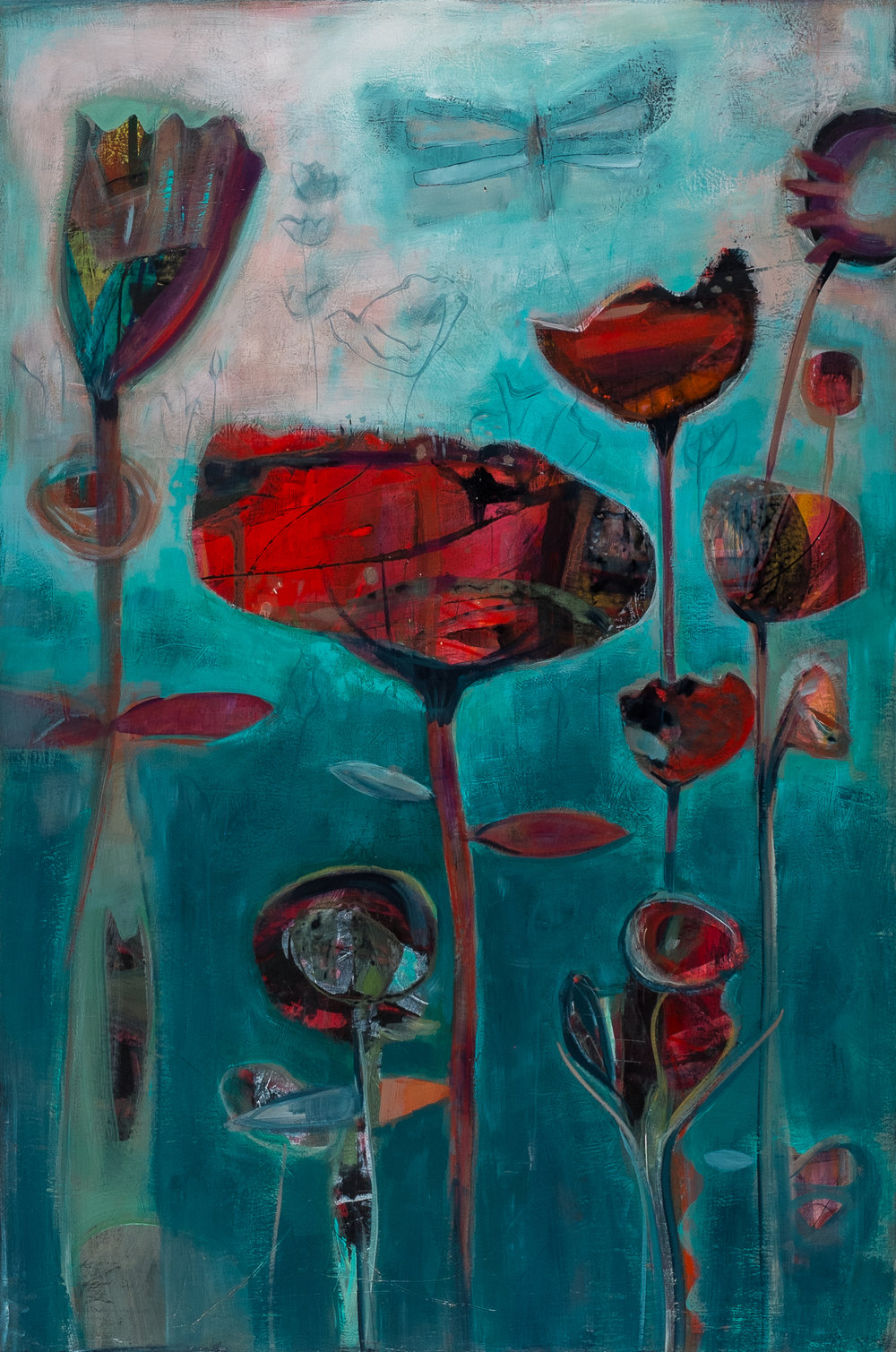 Lori Richards,  Pop Garden , acrylic on panel