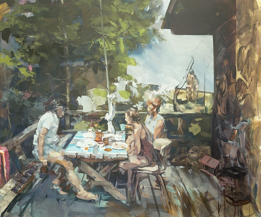 """Elle Chae,  View from the Deck , oil and acrylic on canvas, 50"""" x 40"""""""