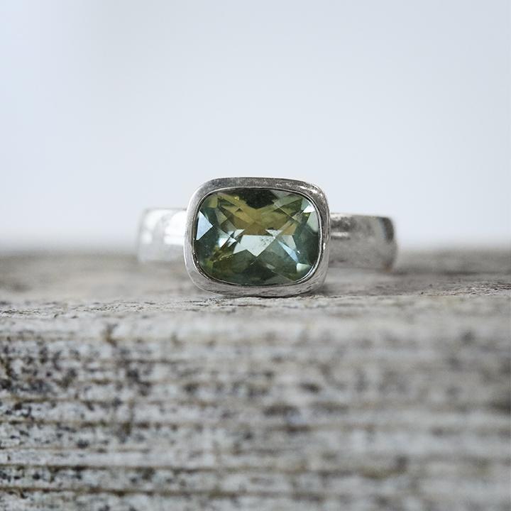 Andrea Mueller,  Green Quartz Cushion Cut Ring in Sterling Silver