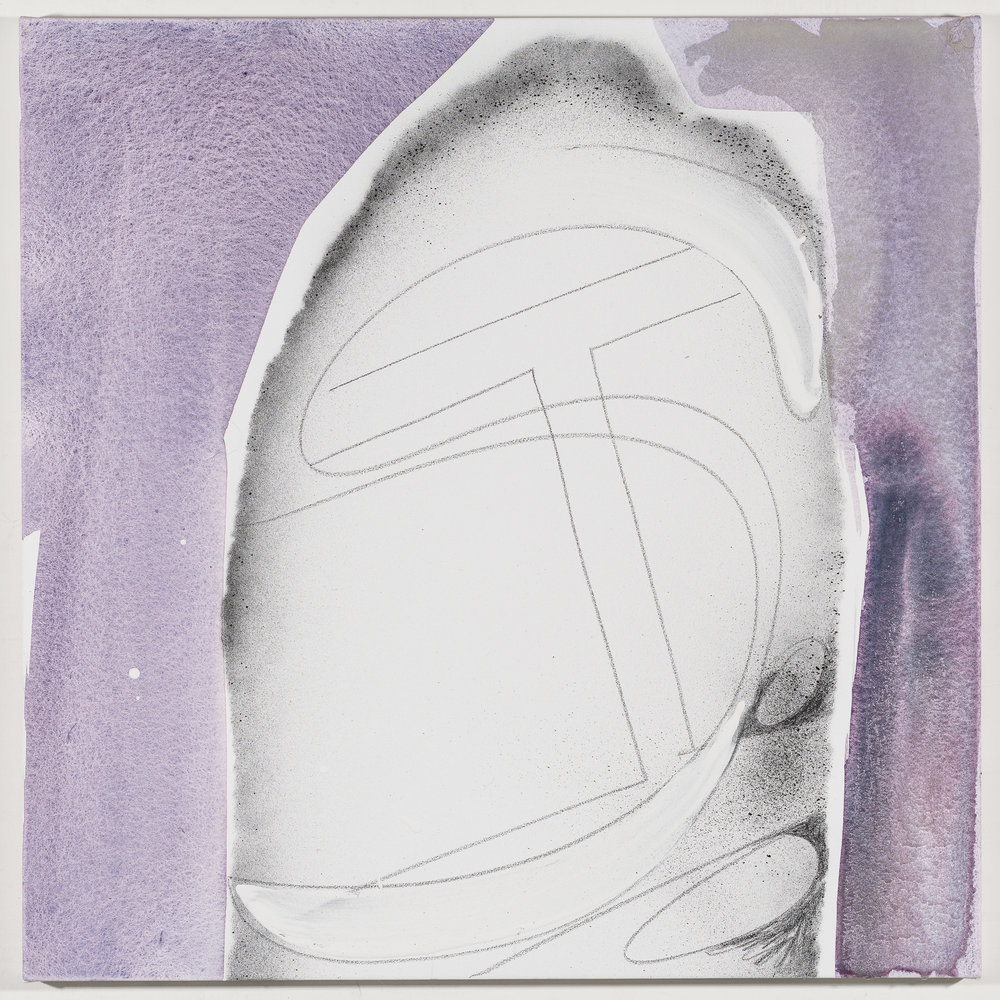 Initials: Iliza Schlesinger   2018  Graphite and acrylic on canvas  20 x 20 inches