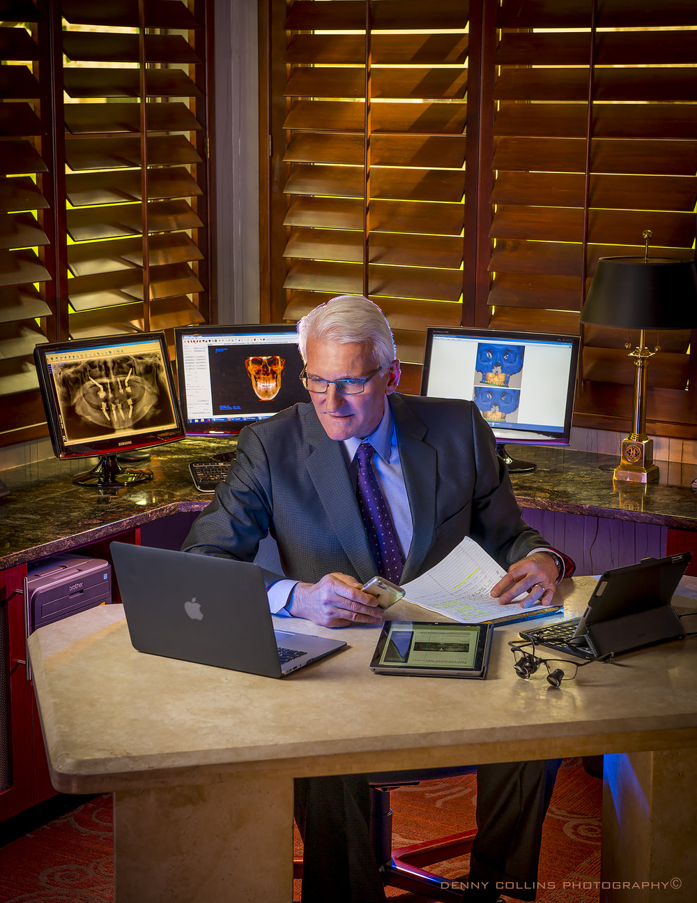"Robert Guyette, MD, DMD   ""Bob and I are very pleased to have found Denny for our professional photography needs, whether family or business! He is a creative master who enjoys his work and spends the time to capture that precious moment , or the milestone of your professional life. He is a gentleman and a pleasure to work with, always. We will only trust Denny for our future needs in photography."" — Regina Guyette, Director of Guyette Facial & Oral Surgery – Dental Implant Center"