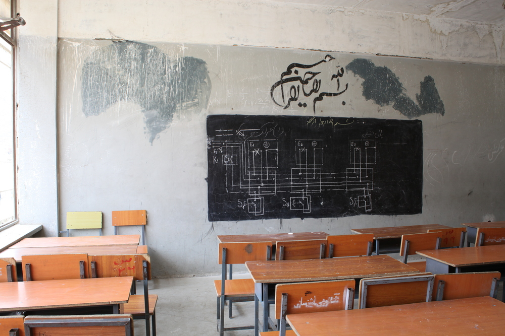 Another Soviet infrastructural project, the Polytechnic University in Kabul is still holding classes despite the fact that its campus was badly damaged when the Taliban took the city. Inside these walls students learn about welding, car repair, and carpet weaving.