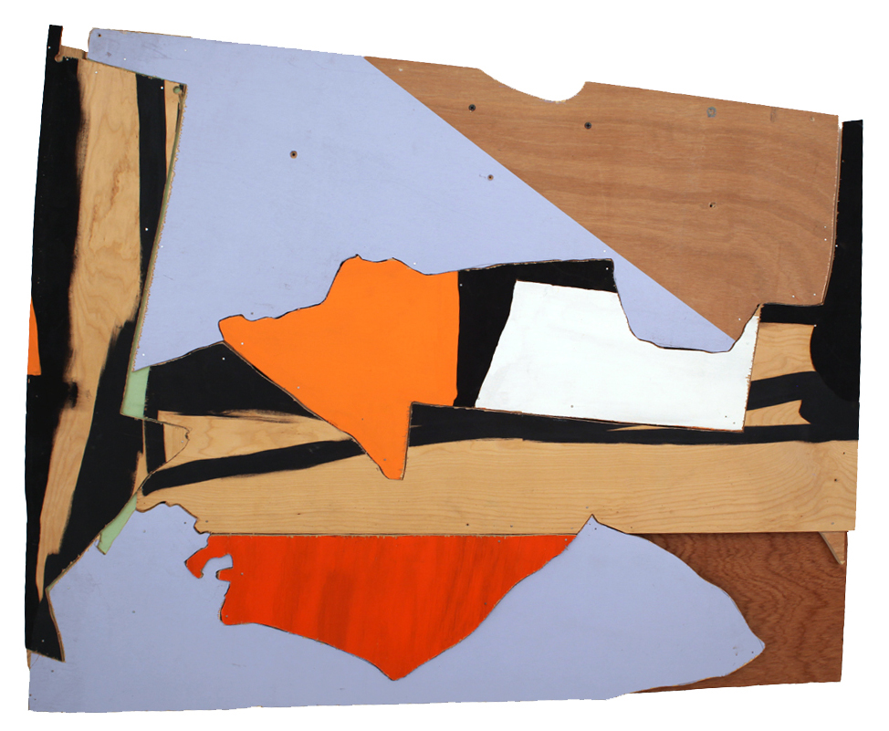 Untitled (Painting for AS), 2013   acrylic paint, oil paint, paper, archival glue, nails, and wood   36 1/2 x 44 inches
