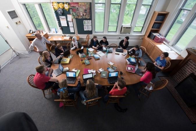 A Harkness classroom arrangement