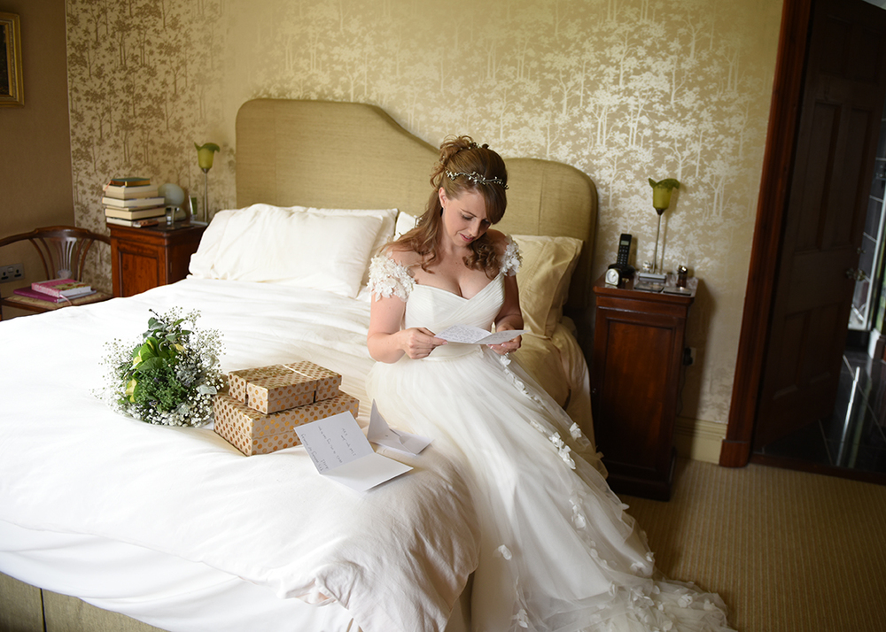 Beautiful moment reading a letter from her husband to be