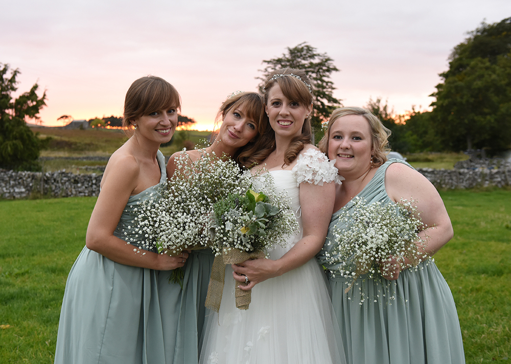 Sam and her beautiful girls. Sam's mum Joan handmade all the bouquets and buttonholes from flowers in her garden