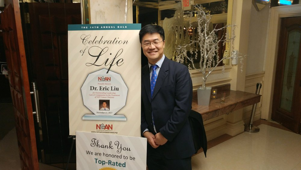 "Dr. Eric Liu, Healing NET Foundation co-founder and chief medical adviser, is awarded the ""above and beyond"" award by the neuroendocrine cancer awareness network at their annual celebration of life gala November 11, 2017."