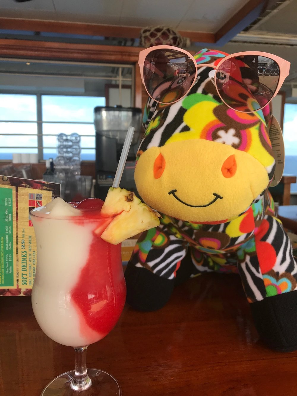 Zelda the zebra was our zany hostess for 2018 and has big plans for the 2019 cruise!