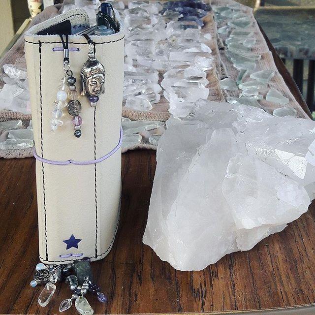 Making bookmarks today ^_^ @thefoxyfix @foxynotebookco #foxyfix #quartz #amethyst #fluorite #opalite #jade #prehnite #freshwaterpearl #buddha