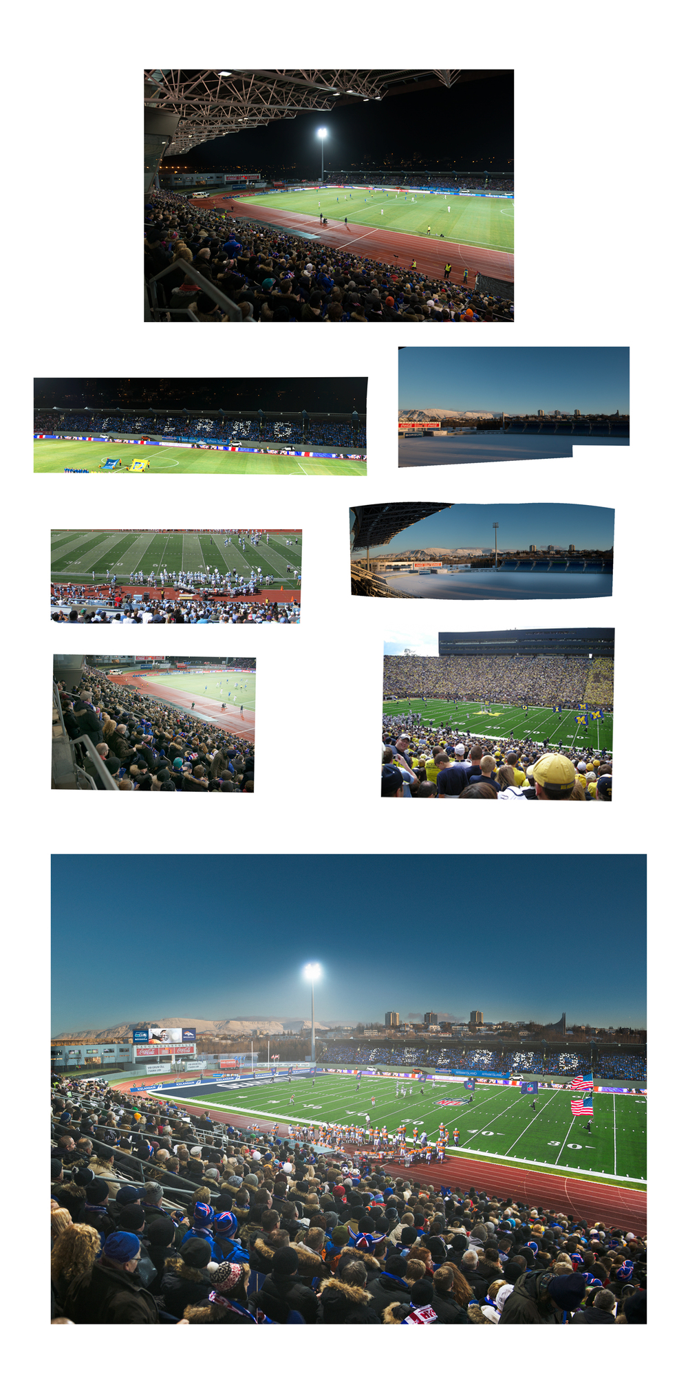 Icelandair campaign.  American football game inserted into the Icelandic soccer stadium.  Key images used above, around 30 different images used in total.  Client:  Islenska / Icelandair