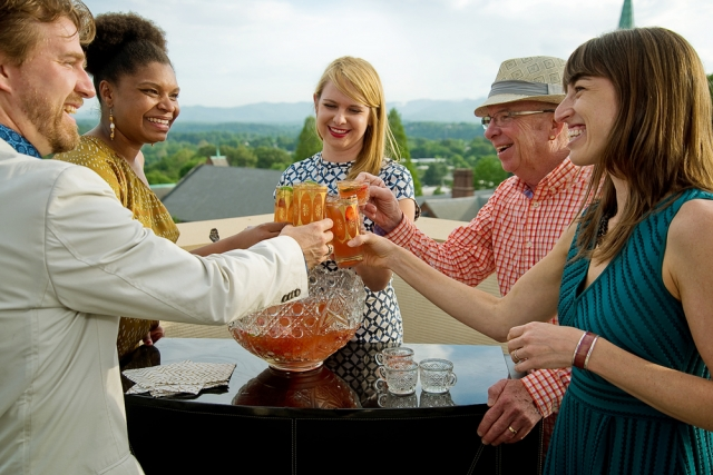 Guests enjoying the views and lovely Mockingbird Punch by Erin Hawley of MG Road.