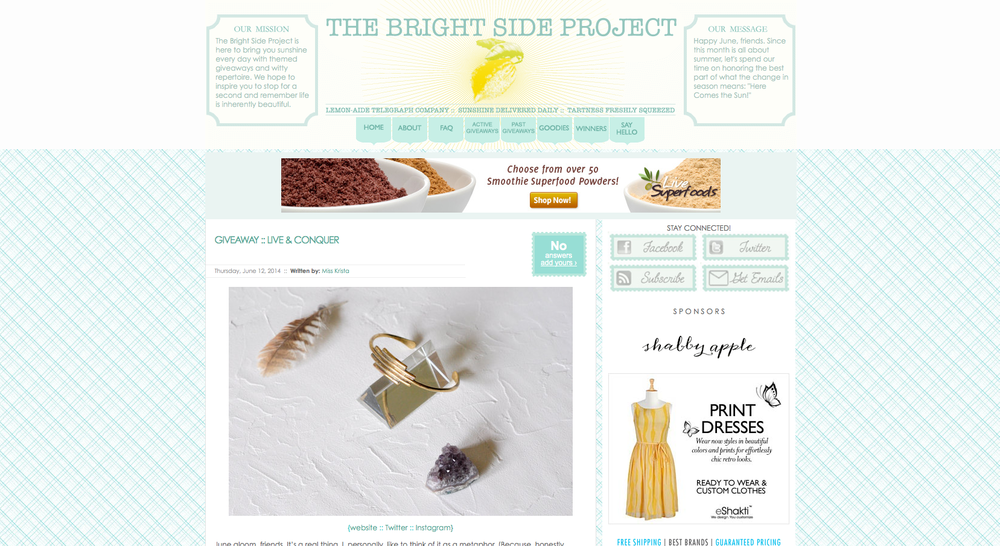 Bright Side Project Interview & Giveaway
