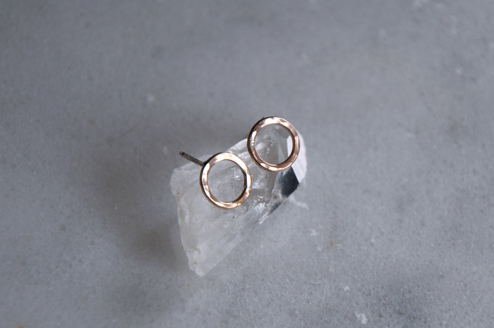 Circlet Studs Dainty rose gold fill.