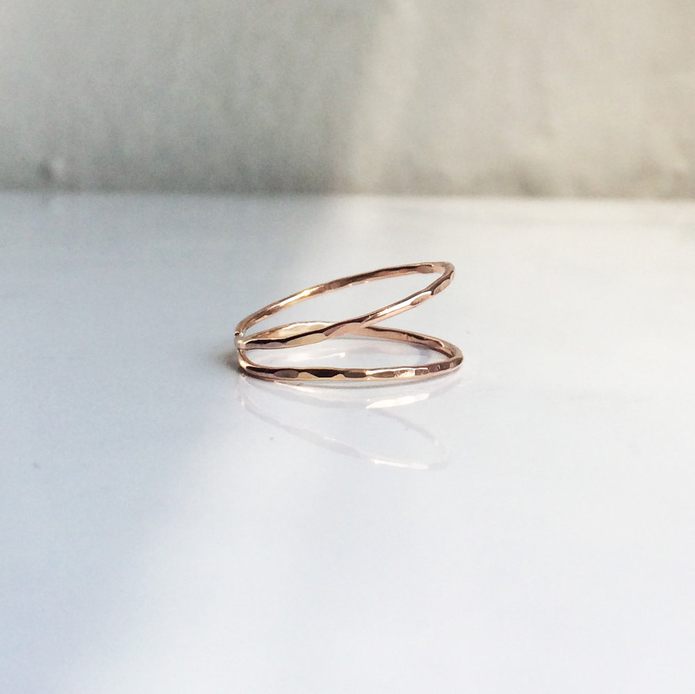 Double Simplex Ring Available: Rose Gold Fill, Sterling Silver